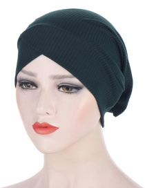 Fashion Dark Gray Toothpick Strip Forehead Cross Headscarf Hat