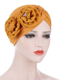 Fashion Turmeric Cross Head Scarf Hat With Messy Flowers On Forehead