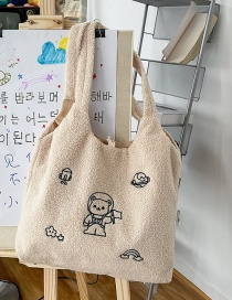 Fashion Off-white Without Pendant Lamb Hair Bear Embroidered Shoulder Bag