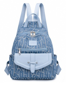 Fashion Blue Canvas Letter Print Backpack