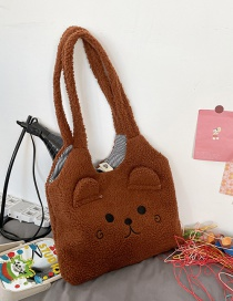 Fashion Dark Brown Without Pendant Lamb Wool Large-capacity Embroidered Bear Shoulder Bag