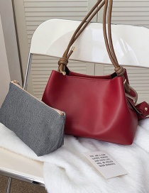 Fashion Red Wide Shoulder Strap Stitching Diagonal One-shoulder Picture Bag