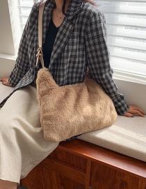 Fashion Teddy Brown Large Capacity Plush Solid Color One-shoulder Messenger Bag