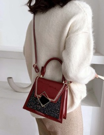 Fashion Red Wine Sequin Embroidery Thread Flap One-shoulder Diagonal Bag