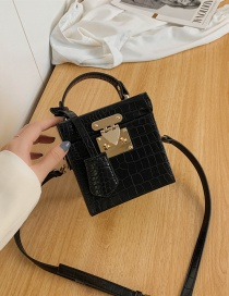 Fashion Black Crocodile Pattern Crossbody Shoulder Bag With Box Lock
