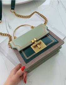 Fashion Green Contrast Chain Lock Shoulder Crossbody Bag