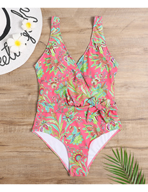 Fashion Watermelon Red Printed Knotted Swimsuit