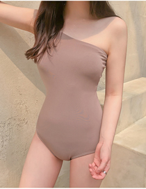 Fashion Light Khaki One-shoulder Open Back Solid Color One-piece Swimsuit