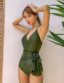 Fashion Green Deep V Backless Bow Tie One-piece Swimsuit