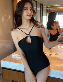 Fashion Black Small Chest Gathered Cross Strap One-piece Swimsuit