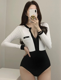Fashion Black And White Triangle Long Sleeve Contrast Color One-piece Swimsuit