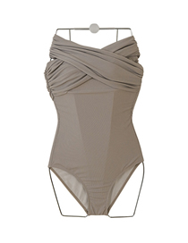 Fashion Khaki Cross Contrast Stitching Pleated One-piece Swimsuit