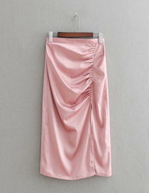 Fashion Pink Solid Color Pleated Slit Loose Skirt