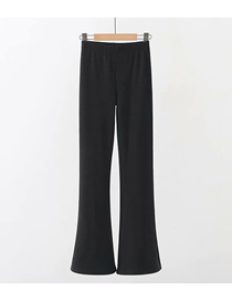 Fashion Black Solid Color Split Flared Loose Trousers