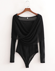Fashion Black Solid Color See-through Hollow One-shoulder Long-sleeved Jumpsuit