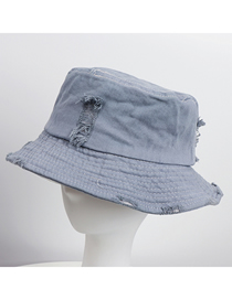 Fashion Light Blue Ripped Denim Flat Fisherman Hat