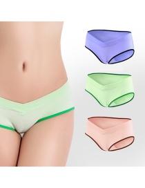 Fashion Purple Black Edge + Apple Green + Brown Skin Large Size U-shaped Pregnant Womens Underwear (three Packs)