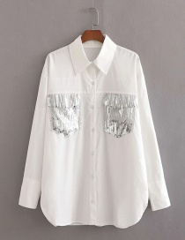 Fashion White Sequin Panel Loose Shirt