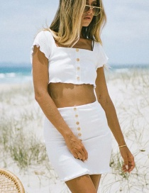 Fashion White Single-breasted Knitted Skirt Suit With Wooden Ears
