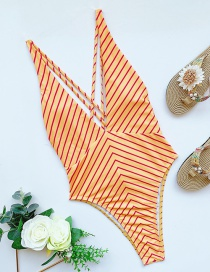 Fashion Stripe Striped Solid Color Tie One-piece Swimsuit