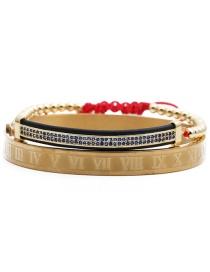 Fashion Blue Zirconium Gold Copper Beads Red String Set Titanium Steel Letter Inlaid Zirconium Elbow Braided Adjustable Bracelet