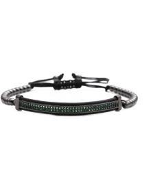 Fashion Copper Bead Chain Gun Black Green Zirconium Elbow Titanium Steel Micro-inlaid Zirconium Elbow Braided Adjustable Mens Bracelet