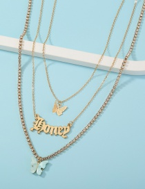 Fashion Gold Color Butterfly Letters Diamond Alloy Multilayer Necklace