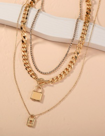 Fashion Gold Color Thick Chain Lock-shaped Key Alloy Multilayer Necklace