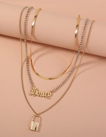 Fashion Gold Color Letter Lock Shaped Rhinestone Claw Chain Alloy Multilayer Necklace