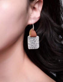 Fashion White Leather Sandy Silver Irregular Geometric Square Earrings