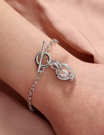 Fashion Silver Color Natural Oyster Pearl Bracelet With Diamond Pumpkin Cage