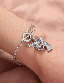 Fashion Silver Color Pattern Pistol Natural Oyster Pearl Cage Bracelet