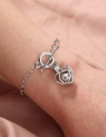 Fashion Silver Color Natural Freshwater Oyster Pearl Peach Heart Animal Cage Bracelet