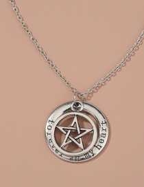 Fashion Five-pointed Star Hollow Pattern Letter Single-layer Necklace