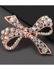 Fashion Rose Gold Alloy Diamond Bow Brooch