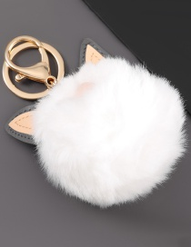 Fashion White Alloy Artificial Leather Cat Ear Round Hair Ball Keychain Pendant
