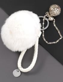Fashion White Alloy Bell Round Hair Ball Keychain Pendant