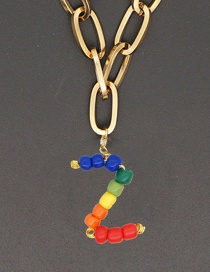 Fashion Color Z Stainless Steel Letter Pendant Handmade Rainbow Beaded Necklace