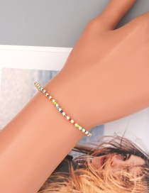 Fashion Color Mixing Rice Beads Color Preserving Gold Beads Elastic Bracelet