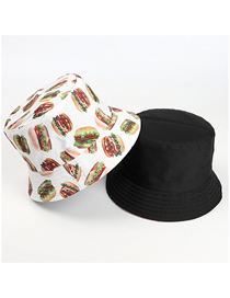 Fashion Burger Double Hamburger Print Double-sided Fisherman Hat