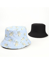 Fashion Light Blue Dollar Print Double-sided Fisherman Hat