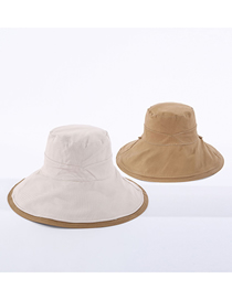 Fashion Beige Cotton Double-sided Fisherman Hat