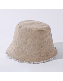 Fashion Khaki Distressed Edging Washed Denim Bucket Hat