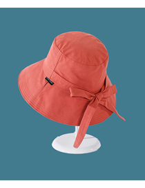 Fashion Orange Sunscreen Fisherman Hat With Big Rim Sunshade Solid Color Bow