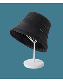 Fashion Black Solid Color Cloth Label Flat Top Sun Protection Foldable Fisherman Hat