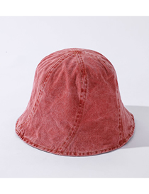Fashion Skin Red Distressed Washed Denim Visor Hat