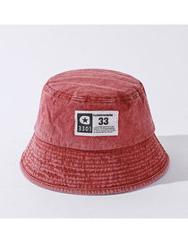 Fashion Skin Red Cloth Label Washed Denim Fisherman Hat
