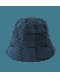 Fashion Navy Stitching Frayed Solid Color Fisherman Hat