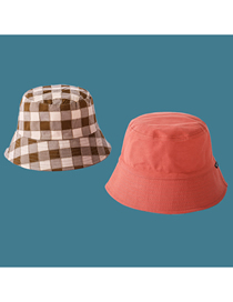 Fashion Orange Double-sided Plaid Fisherman Hat