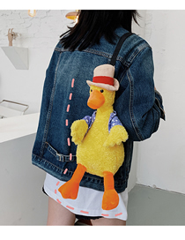 Fashion Yellow Ugly Cute Vest Duck Plush Toy One-shoulder Messenger Bag